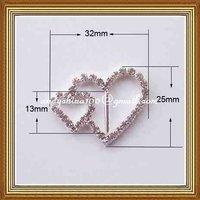 13mm inner bar heart rhinestone buckle