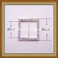 22mm inner bar square rhinestone buckle for wedding invitation card