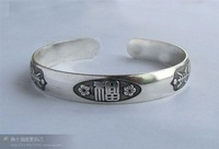 free shipping wholesale 1cm Breadth Jewelry Silver Bracelet Goldfish Carved Antique Totem bangle men's Cuff Bracelets