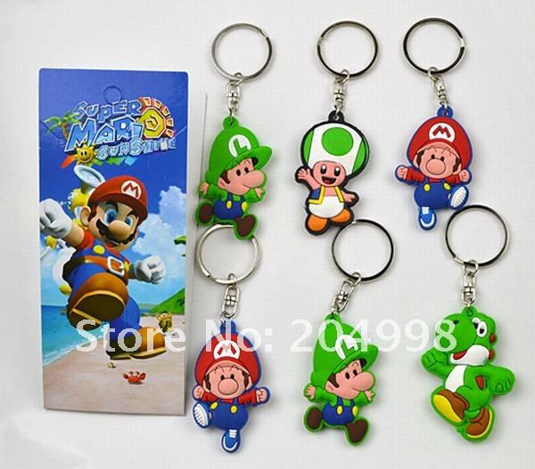 Free shipping Anime Super Mario Bros Double side Soft PVC key chain (6 pcs/set ) Wholesale(China (Mainland))