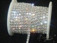 888 clear crystal rhinestone close chain trims silver 5.8 meter