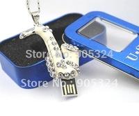 8GB/16GB/32GB Saxophone Shape Jewelry USB Flash Drive,Crystal USB Flash Memory Disk,Free shipping,MOQ:1pcs