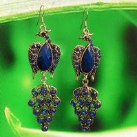 R12322-9 free shipping 12pairs//ot  beautiful  phoenix  diamonddrop earring plated antique silver earring eardrop jewelry