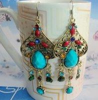 R12322-24  free shipping 12pairs/lot beautiful diamond drop earring plated antique silver earring eardrop jewelry