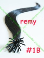 "500S 18""20""22"" Remy Keratin Stick tip I tip Human Hair Extension Silky Straight #1B Natural Black 50g mix order free shipping"