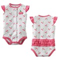 YFR8, 2012 New, Cherry, Wholesale, Baby/Infant 100% Cotton short sleeve knitted Romper clothing sets/suit for 0-2 age