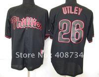 Free shipping-Philadelphia Phillies #26 Utley Black Fashion jersey,Phillies jerseys,baseball jerseys