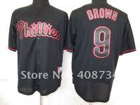 Free shipping-Philadelphia Phillies #9 Brown Black Fashion jersey,Phillies jerseys,baseball jerseys