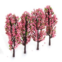 3.3 Inch Green Train Set Scenery Landscape Model Tree with Peach Flowers Scale 1/200 - 200PCS