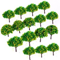 200pcs 2.8 inch Scenery Landscape Train Model Trees w/ Yellow Flowers - Scale 1/100