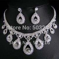 High Quality Clear Crystal Silver Plated Promotion Fashion Rhinestone Bridal Jewelry set