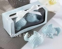 Newest Wedding favors 'Kissing Fish' Ceramic Salt & Pepper Shakers best for wedding party gifts baby favors 6pcs/lot Hotsale