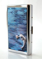 Stainless steel cigarette case 14 branch extended------Blue Dolphin