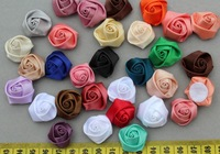 set of 100pcs Satin Ribbon handmade Fabric Rosette Rose Flowers in mixed colors 20-25mm