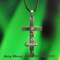 R12322-172  free shipping12pcs/lot beautiful double cross with diamond pendant fashion cross with the leather cord  jewelry