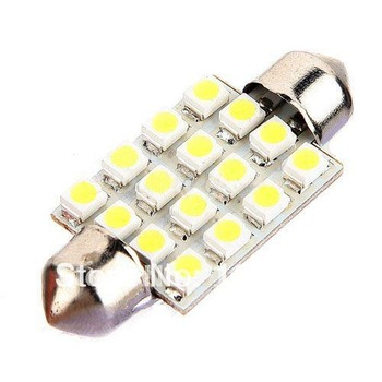 50pcs/lot Free Shipping Car Interior Dome Festoon 16 SMD LED Bulb Light 39mm