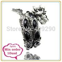 Retro imitation Gemstone Dragon Bangle Charm Bracelet Adjustable Dragon Jewellery Black One Min $10 Can Mix Free Shippig