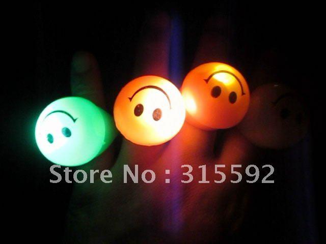 Free Shipping New Novelty 72pcs/lot LED flashing smile face ring flash finger ring LED light ring for Christmas Party(China (Mainland))