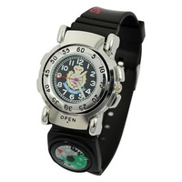 Metal Sports Compass Binary Wrist Watch Black (two compass) 32843  Free Shipping Fast delivery