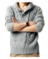 Free Shipping Men Sweater With Button decoration stand-up collar long sleeve fashion casual solid clothing Wholesale MS1156
