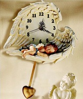 EMS free shipping wholesale and retail European style big size sleeping angel quiet quartz wall clock