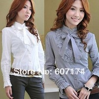2013 Hot sell Korean style ladies skinny Lace shirt,OL shirt,casual shirt&blouse,#1087,Free shiping
