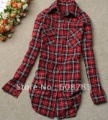 Spring Summer Hot-selling Cotton plaid shirt  Ms. shirts girls blouse Free shipping C0517