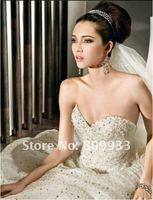 2012A+++New Arrive A-line Sweetheart Chiffon with beading Sleeveless Wedding Dress