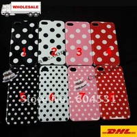 Hot sale Dot point design  Hard back case for iPhone 4 4S  Free shipping tracking number POST