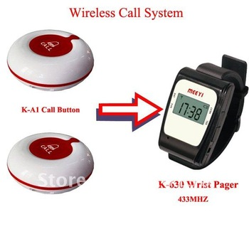 Tabletop Service Bell,Waiter Calling System of 20pcs of table bell and 4 pcs of watch receiver