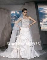 2012A+++New Arrive Sweetheart Beading A-line One Shoulder Satin Court Train Wedding Dress