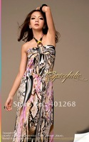 Womens dresses ladies snake leopard halter dress maxi dress backless Bohemian beach dress 8982