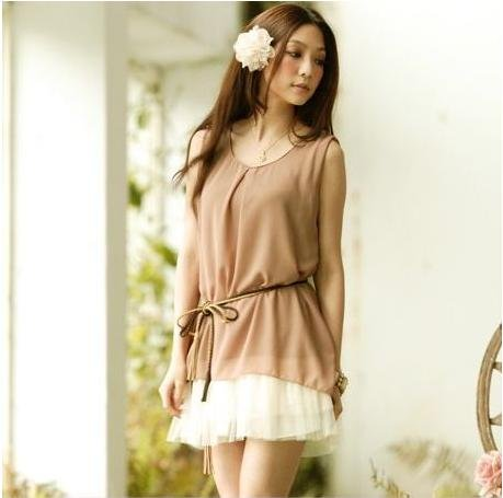 2012 summer 2 color M L XL size women's fashion Eurya chinensis chiffon dress in stock 1339