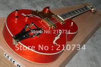 Wholesale -Hot musical instruments custom shop left hand jazz ES-335, brake rod orange electric guitar