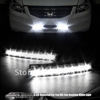 Free shipping drl  White 8 LED Universal led light Aux DRL Daytime Running Daytime Running Light Foglight car DRL