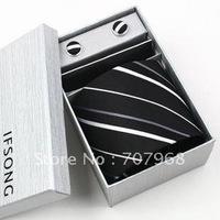 Black dark grain the white stripes pure silk suit