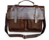 100% Guarantee genuine Vintage Tan Leather Popular Men's Briefcase Laptop Handbag Messenger Bag #5646 Drop Shipping