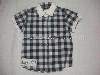 Wholesale summer children's popular T-shirt / the most stylish children plaid trim T shirt / boy favorite shirts and T-shirts