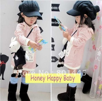 2012 spring autumn girl coat cotton sweater red/white strip dress with hat for 2~9Y free shipping wholesale drop shipping