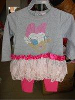 Комплект одежды для девочек 2012 baby girls cartoon fairies short sleeve t-shirt + purple chiffon skirt 2 pc set girl Summer clothes set