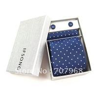 Business blue dot assembling a tie