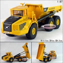 Candice guo! Mini 1:87 delicate yellow construction trucks/ dump trucks alloy model car toy car good for gift 1pc(China (Mainland))