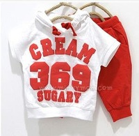 Free shipping 2012 new arrival B2W2 baby clothing set,  girls boys cream 369 short sleeve hoodies+ pants, 2pcs children set