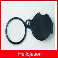 New Black Disk Pocket Spiegel Loupes Magnifier Magnifying Glass
