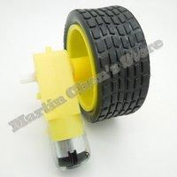 Free shipping 5pcs/lot Smart Car Robot Plastic DC 3-6V 48:1 Drive Gear Motor +tyre+for Tire Wheel