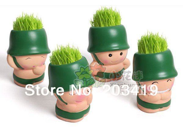 Gift Green Hair man soldier Plant Bonsai Grass Doll Office Mini Plant Fantastic Home Decor pot+seeds wholesale retail(China (Mainland))