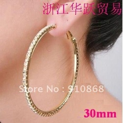 Basketball wives hoop earrings crystals Rose Gold polish 1row 30mm Free Shipping(China (Mainland))