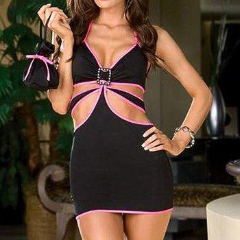 Wholesale Cheap 3 Piece Dark Trim Halter Dress , Sexy Club Wear,Wholesale Long Dresses
