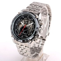 1pcs Luxury Style Black Dial Men Automatic Mechanical Watch Skeleton Mech Cool NT7345