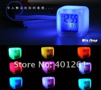 Free shipping Glow LED Color Change Digital Alarm Mood Clock with calendar/thermometer Multi-function 7 colour change 20pcs/lot